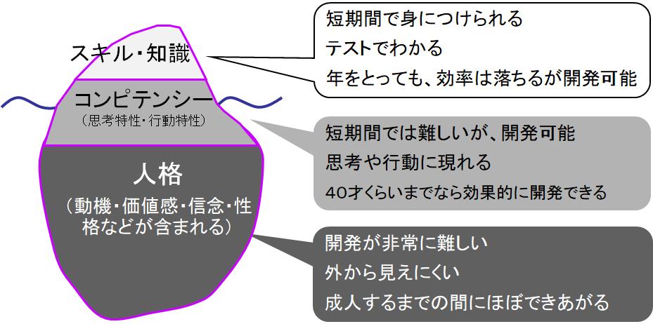 コンピテンシーを理解するための氷山イメージモデル